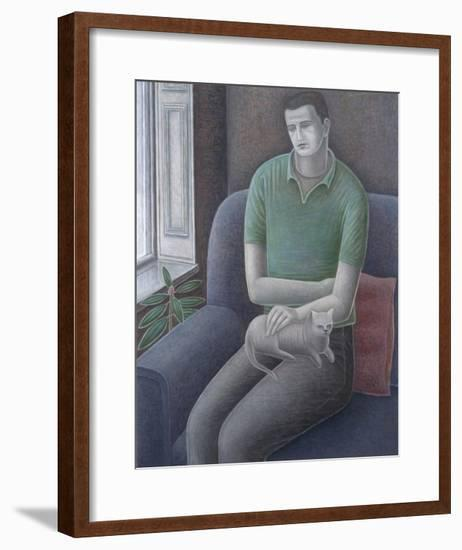 Young Man with Cat, 2008-Ruth Addinall-Framed Giclee Print