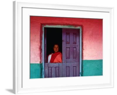 Young Maya Woman in Doorway of Home Zinacantan, Chiapas, Mexico-Jeffrey Becom-Framed Photographic Print