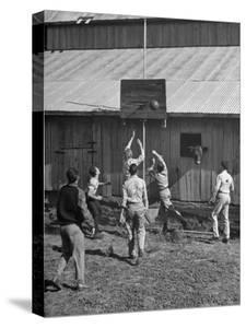 Young Men Playing Basketball with a Homemade Basket in a Farmyard