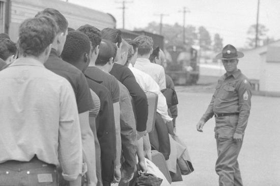 Young men who have been drafted wait in line to be processed into the US Army at Fort Jackson, SC-Warren K^ Leffler-Photographic Print