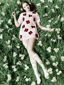 Young Model Biddy Lampard in the Grass Wearing a Short Dress (With Daisies) Inspired by Courreges