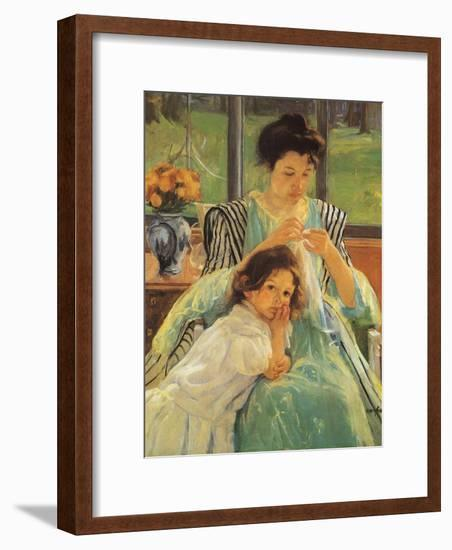 Young Mother Sewing, 1900-Mary Cassatt-Framed Giclee Print