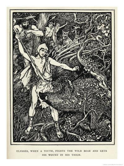 Young Odysseus Fights a Wild Boar and Gets the Wound in His Thigh-Henry Justice Ford-Giclee Print