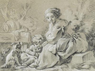 Young Peasant Woman Sitting with a Child and a Dog--Giclee Print