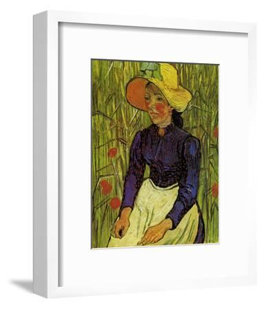 Young Peasant Woman with Straw Hat Sitting in the Wheat-Vincent van Gogh-Framed Art Print
