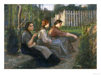 Young Peasant Women Talking, Galleria d'Arte Moderna, Palazzo Pitti, Florence-Cristiano Banti-Giclee Print