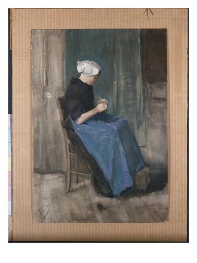 Young Scheveningen Woman Knitting, Facing Right, 1881-Vincent van Gogh-Giclee Print