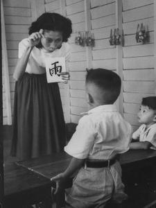 Young School Teacher Explaining to a Little Chinese Boy the Writings on Card That She Is Holding