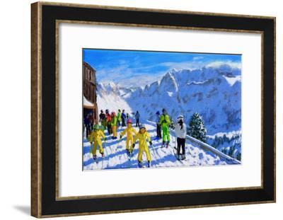 """Young skiers in yellow,Val Gardena Italy.12x20""""-Andrew Macara-Framed Giclee Print"""