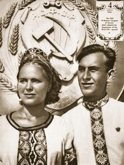 Young Soviet Man and Woman--Photographic Print