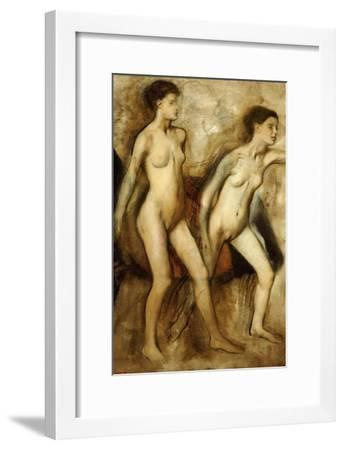 Young Spartan Girls Provoking the Boys, (Young Spartans Wrestling)-Edgar Degas-Framed Giclee Print