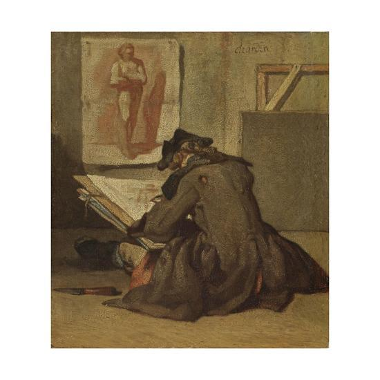 Young Student Drawing-Jean-Baptiste Simeon Chardin-Giclee Print