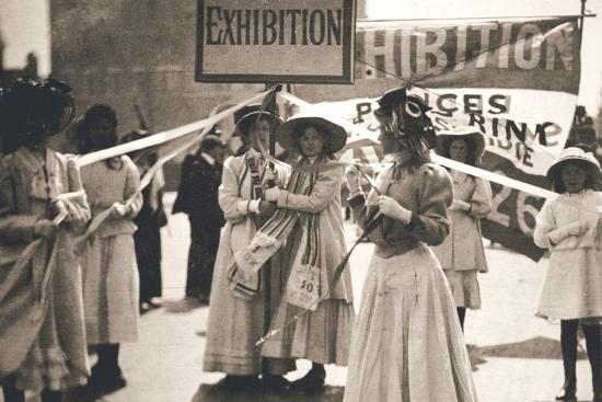 Young suffragettes promote the fortnight-long Women's Exhibition, London, 13 May 1909-Unknown-Photographic Print