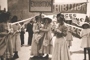 Young Suffragettes Promote the Fortnight Long Women's Exhibition