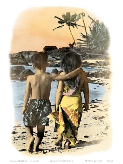 Young Sweethearts, Hand Colored Photo of Hawaiian Children-Himani-Art Print