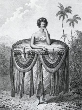 Young Tahitian Woman Bearing Gifts, Society Islands, Engraving from Drawing by John Webber--Framed Giclee Print