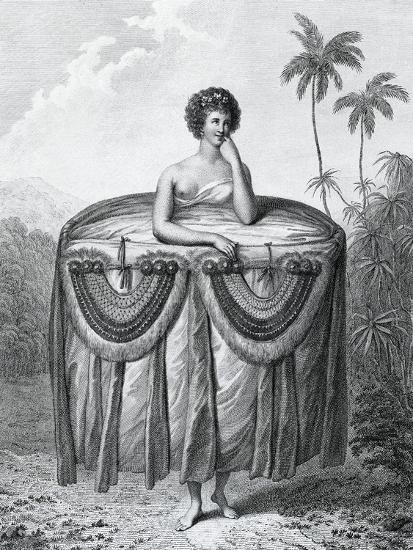 Young Tahitian Woman Bearing Gifts, Society Islands, Engraving from Drawing by John Webber--Giclee Print