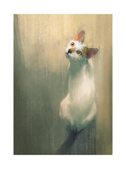 Young White Cat Looking Up,Digital Painting-Tithi Luadthong-Art Print