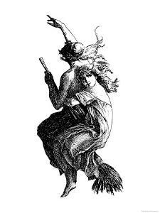Young Witch Gets a Lift on the Broom of Her Older Companion as They Leave for the Sabbat