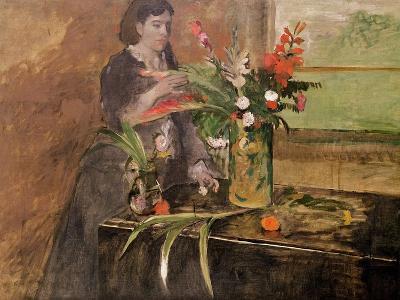Young Woman Arranging Flowers, 1872-Edgar Degas-Giclee Print