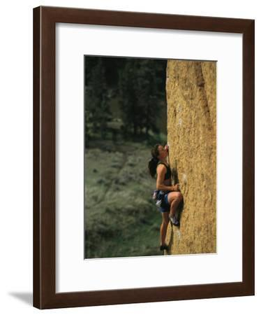 Young Woman Climbing Smith Rock, Oregon-Mark Cosslett-Framed Photographic Print