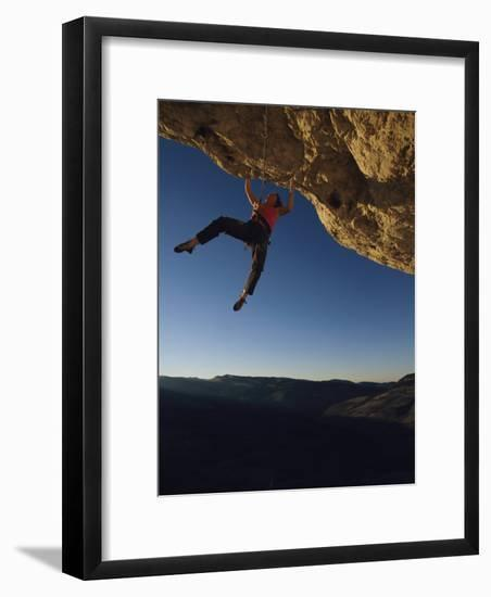 Young Woman Climbing the Rock Feature Called Perry the Wind-Bobby Model-Framed Photographic Print