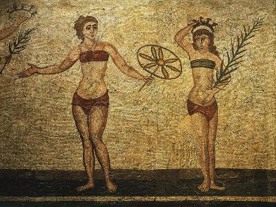 Young Woman Crowning Herself; Another Dancing, Mosaic of Palaestra Games, Roman villa, Casale--Giclee Print