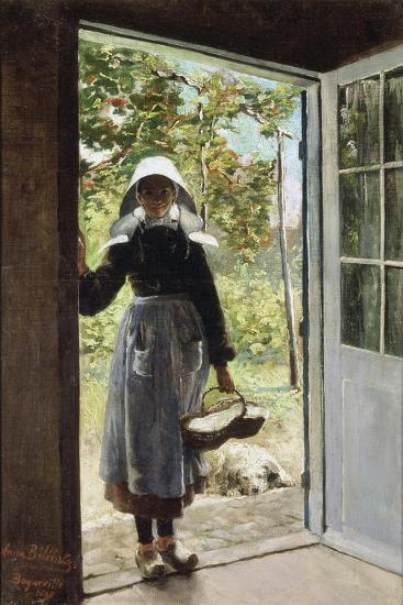Young Woman from Boyardville (Ile D'Oléron) on the Doorstep-Anna Bilinska-Giclee Print