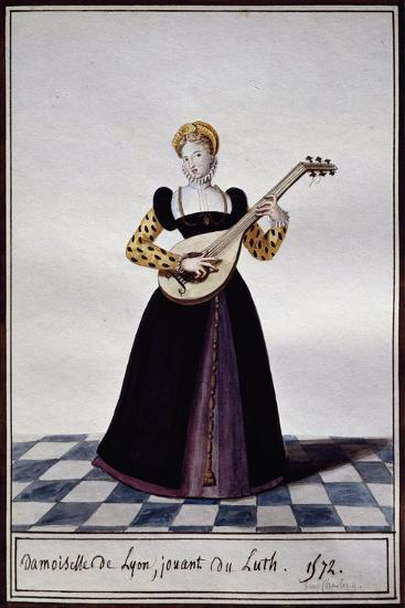 Young Woman from Lyon Playing Lute at Time of Charles IX, 1572-Pierre de La Mesangere-Giclee Print