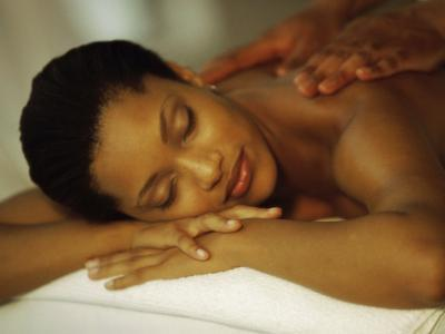 Young Woman Getting Her Back Massaged--Photographic Print