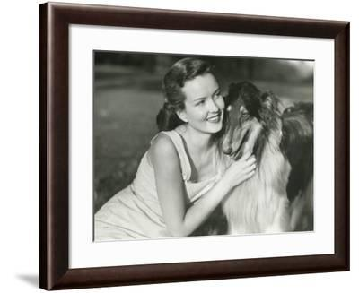 Young Woman Hugging Collie in Park-George Marks-Framed Photographic Print