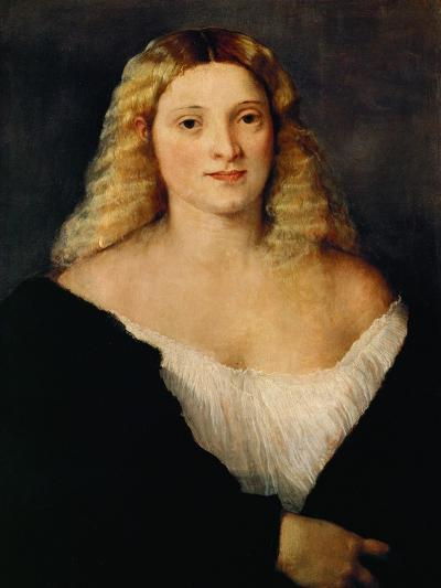 Young Woman in a Black Dress-Titian (Tiziano Vecelli)-Giclee Print
