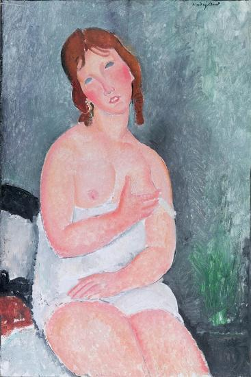 Young Woman in a Shirt, or the Little Milkmaid, 1917-18-Amedeo Modigliani-Giclee Print