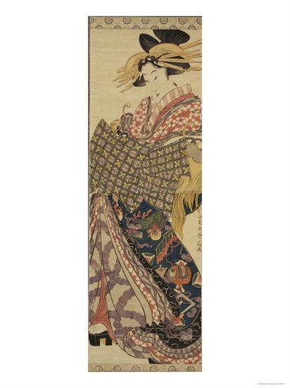 Young Woman in Traditional Highly Decorative Japanese Costume-Katsukawa Shunsen-Giclee Print