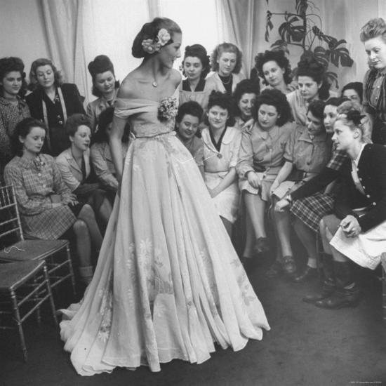 Young Woman Modeling the Lafaurie's Finished Product For the Tailors Before the Showing-Nina Leen-Photographic Print