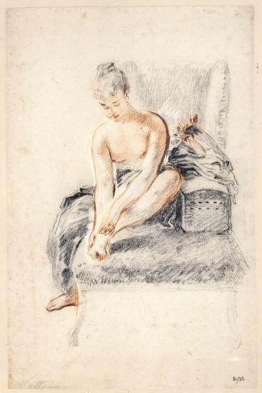 Young Woman, Nude, Holding One Foot in Her Hands, 1716-18-Jean-Antoine Watteau-Giclee Print