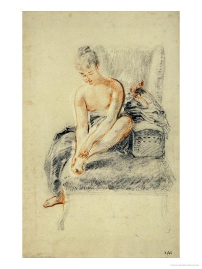 Young Woman, Nude, Holding One Foot in Her Hands, Red and Black Chalk-Jean Antoine Watteau-Giclee Print