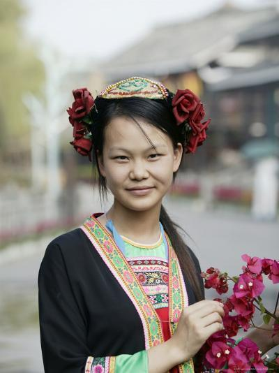 Young Woman of Yao Minority Mountain Tribe in Traditional Costume, Guangxi Province, China-Angelo Cavalli-Photographic Print
