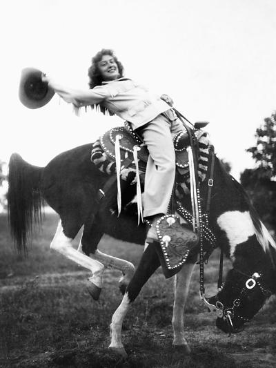 Young Woman on Phony Pony, Ca. 1940--Photographic Print