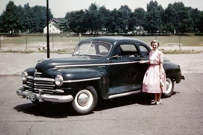 Young Woman Poses with Her Plymouth Automobile, Ca. 1951.-Kirn Vintage Stock-Photographic Print