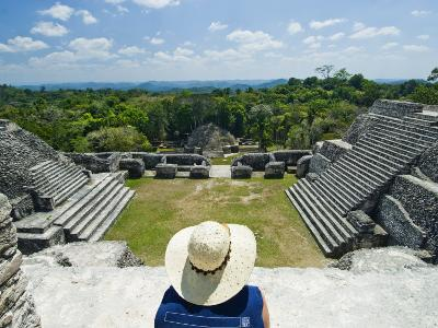 Young Woman Relazing at the Mayan Ruins at Caracol, Belize-James Forte-Photographic Print