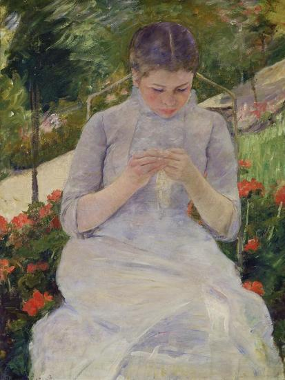 Young Woman Sewing in the Garden, ca. 1880/82-Mary Cassatt-Giclee Print