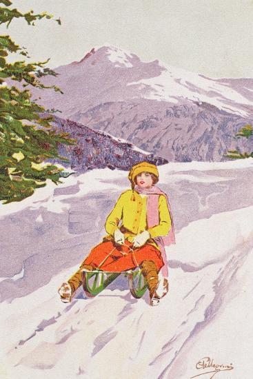 Young Woman Tobogganing-Carlo Pellegrini-Giclee Print