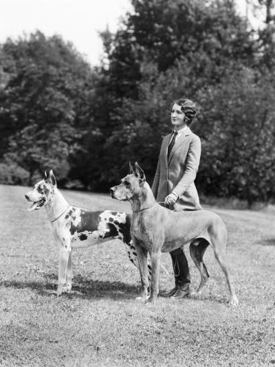Young Woman, Two Great Dane Dogs on a Leash-H^ Armstrong Roberts-Photographic Print