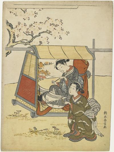 Young Woman Viewing Cherry Blossoms as a Mitate of Lady Nakanokimi, C. 1767-Suzuki Harunobu-Giclee Print