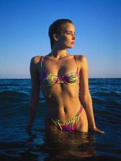 Young Woman Wearing Swimsuit on Beach in Water-David Marshall-Photographic Print