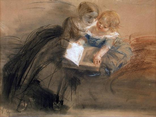 Young Woman with a Child, Between 1844 and 1850-Adolph Friedrich von Menzel-Giclee Print