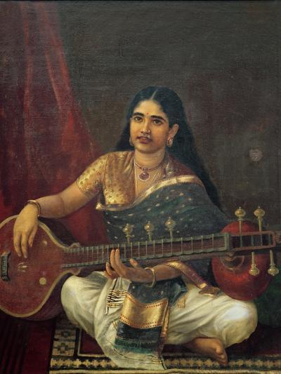 Young Woman with a Veena-Raja Ravi Varma-Giclee Print