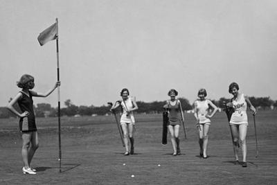 Young Women in Bathing Suits Golfing in Washington, D.C. Vicinity. July 9, 1926