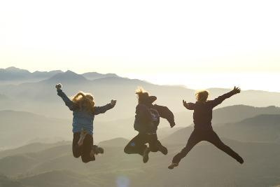 Young Women Jumping On Top Of Mountain. Saddle Mountain State Park, OR-Justin Bailie-Photographic Print
